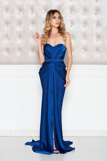Kék Ana Radu ruha szatén anyagból váll nélküli szivacsos, push-up-os mellrész övvel ellátva