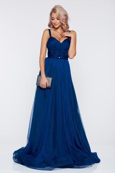 Kék Ana Radu pántos estélyi ruhák ruha övvel ellátva