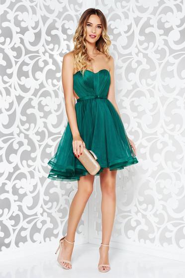 Zöld alkalmi Ana Radu fűzős ruha szivacsos mellrész