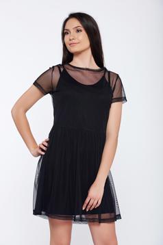 Fekete Top Secret hétköznapi bő szabású tüll ruha