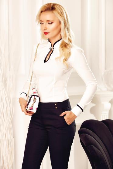 Fehér Fofy pamutból készült irodai női ing strassz köves kiegészítővel