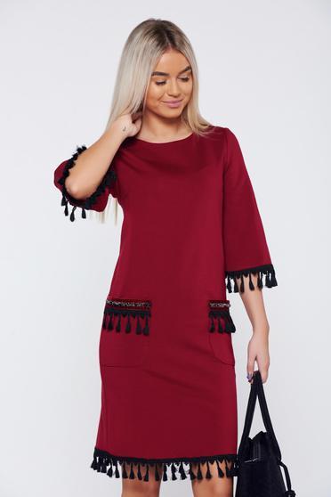 Burgundy LaDonna elegáns hétköznapi ruha bojtos