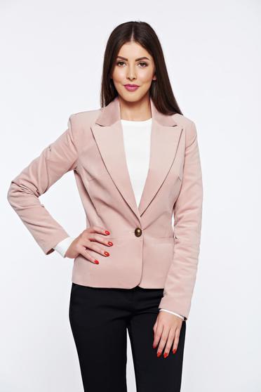Rózsaszínű LaDonna irodai bársony blézer zsebes