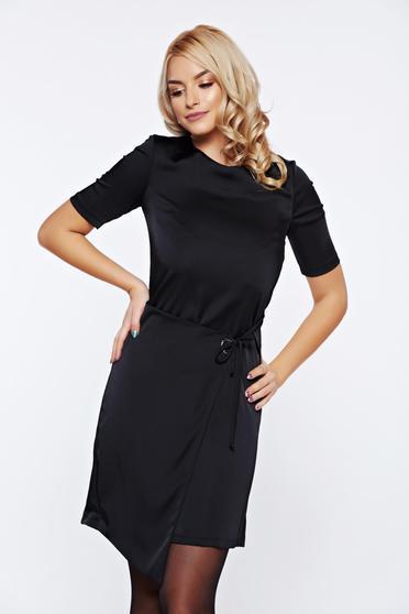 Fekete PrettyGirl hétköznapi casual ruha asszimmetrikus szabással