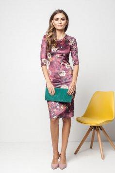 Burgundy PrettyGirl hétköznapi ruha virágmintás díszítéssel