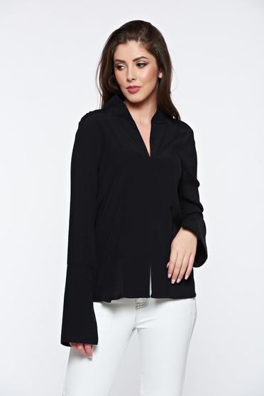 Fekete PrettyGirl irodai női ing v-dekoltázzsal magas gallér