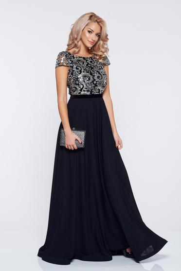 Fekete StarShinerS ruha alkalmi fátyol flitteres díszítés