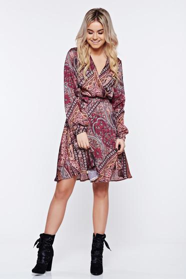 Barna StarShinerS elegáns átfedéses ruha szatén anyagból
