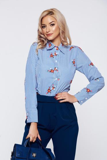 Kék Artista irodai női ing pamutból készült hímzett betétekkel