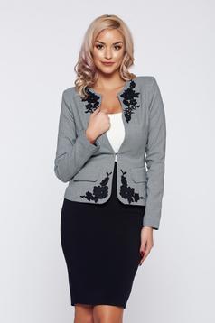 Fekete LaDonna elegáns irodai női kosztüm nyomtatott mintával