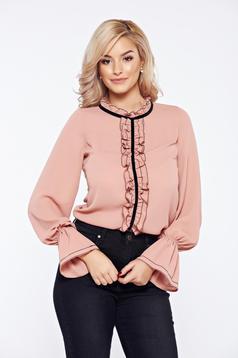 Rózsaszínű LaDonna elegáns irodai női blúz fátyol anyag fodrok a mellrészen