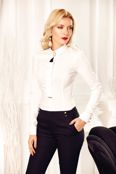 Fehér Fofy irodai női ing bross kiegészítővel