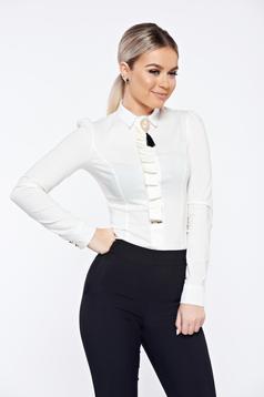 Fehér Fofy elegáns irodai női ing bross kiegészítővel