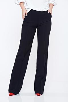 Fekete Fofy irodai zsebes nadrág bővülő magas derekú