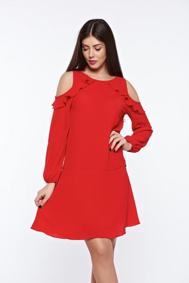 Piros PrettyGirl bő szabású hétköznapi ruha kivágott vállrésszel