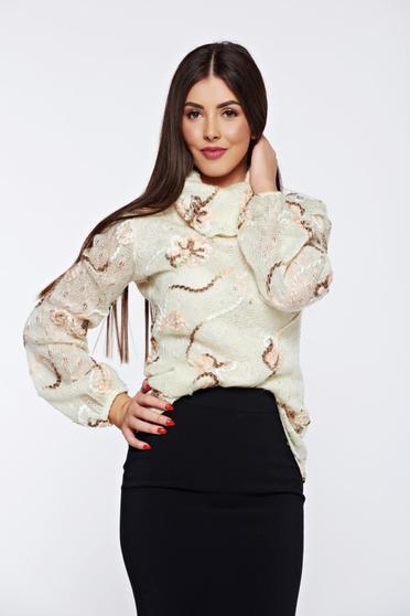 Krém PrettyGirl hétköznapi kötött bő szabású pulóver