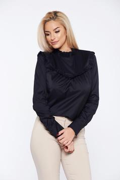 Fekete PrettyGirl irodai hosszú ujjú gomb nélküli női ing