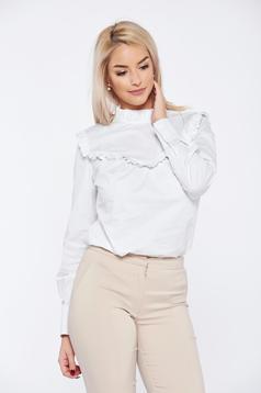 Fehér PrettyGirl irodai hosszú ujjú gomb nélküli női ing