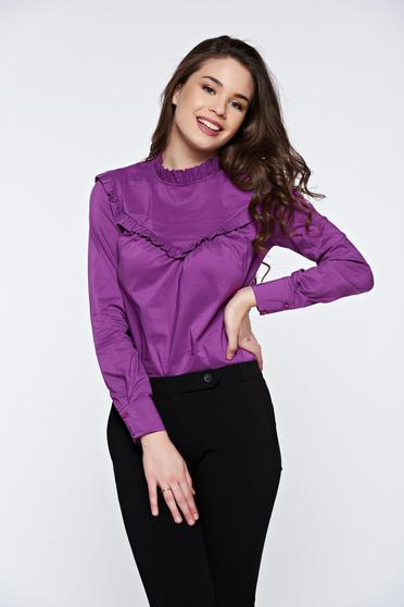 Lila PrettyGirl irodai hosszú ujjú gomb nélküli női ing