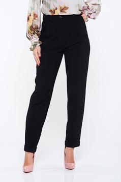 Fekete PrettyGirl irodai magas derekú zsebes nadrág