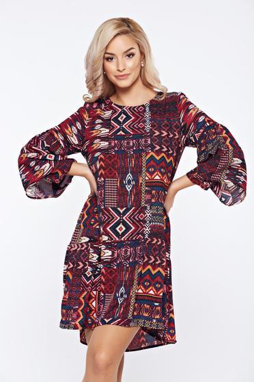 Piros Top Secret hétköznapi ruha geometrikus mintákkal fodrozott ujjakkal