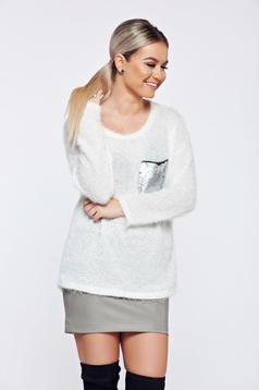 Fehér hétköznapi kötött pulóver flitteres díszítés
