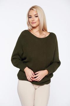 Sötétzöld hétköznapi kötött bő szabású pulóver