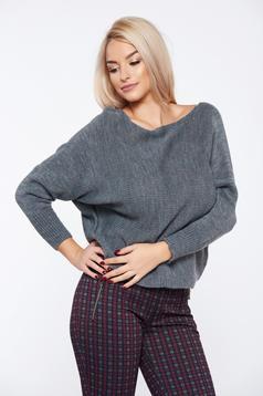 Szürke hétköznapi kötött bő szabású pulóver