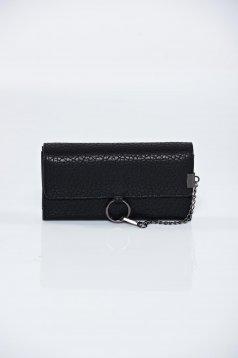 Fekete pénztárca műbőr fémes kiegészítő