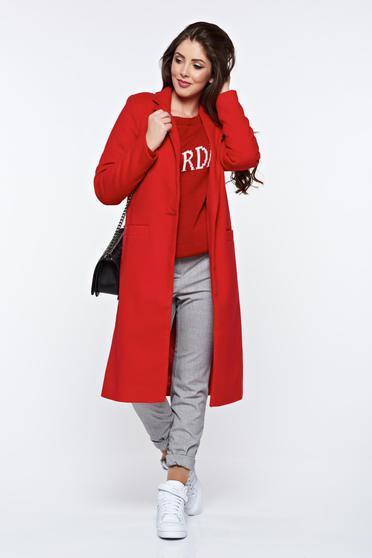 LaDonna hétköznapi piros egyenes nagykabát zsebes