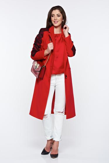 Piros LaDonna elegáns hímzett egyenes nagykabát belső béléssel