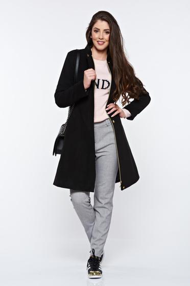 Fekete LaDonna hétköznapi zsebes nagykabát belső béléssel