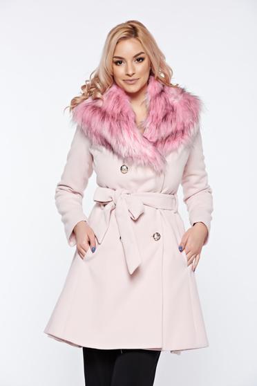 Rózsaszínű LaDonna elegáns gyapjú nagykabát eltávolítható műszőrme rész