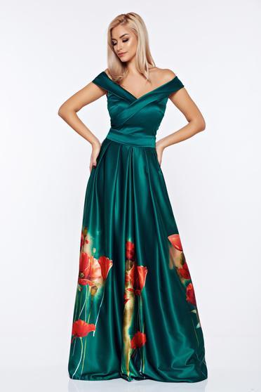 Zöld Artista alkalmi ruha szatén anyagból virágmintás díszítéssel