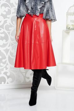 Piros StarShinerS hétköznapi magas derekú műbőr harang szoknya