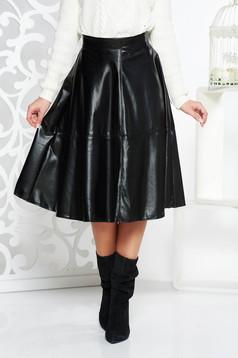 Fekete StarShinerS hétköznapi magas derekú műbőr harang szoknya
