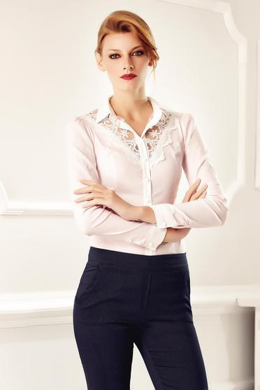 Rózsaszínű Fofy elegáns irodai pamutból készült női ing csipke díszítéssel