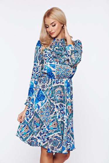 Kék Fofy hétköznapi elegáns virágmintás ruha fodrokkal a mellrészen