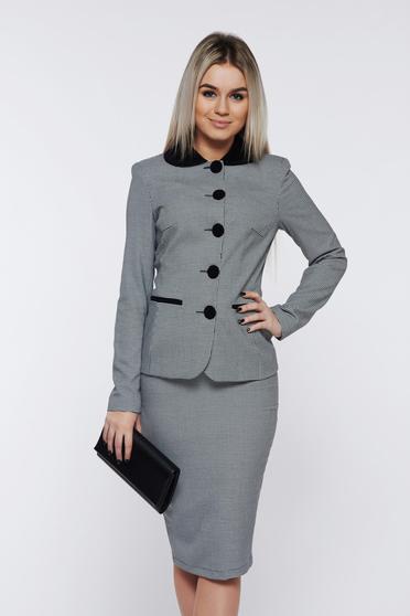 Fekete LaDonna irodai női kosztüm belső béléssel nyomtatott mintával
