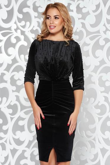 Fekete Artista alkalmi bársony ruha gyöngyös díszítés