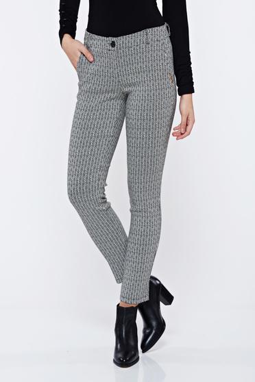 Fekete PrettyGirl irodai kónikus nadrág grafikai mintával