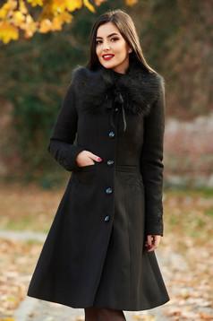 Fekete LaDonna best impulse elegáns hímzett gyapjú belső béléssel nagykabát