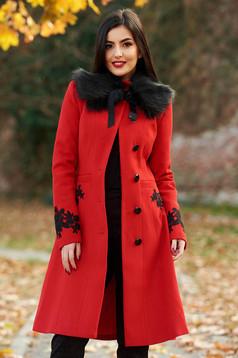 Piros LaDonna best impulse elegáns hímzett gyapjú belső béléssel nagykabát