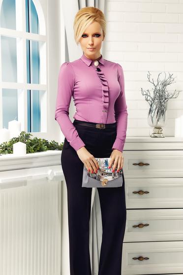 Lila Fofy irodai női ing bross kiegészítővel