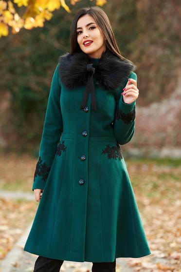 Zöld LaDonna best impulse elegáns hímzett gyapjú belső béléssel nagykabát