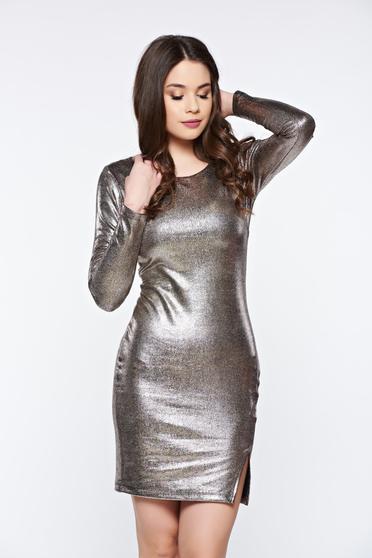 Arany Top Secret rugalmas anyagú party ruha fémes jelleggel