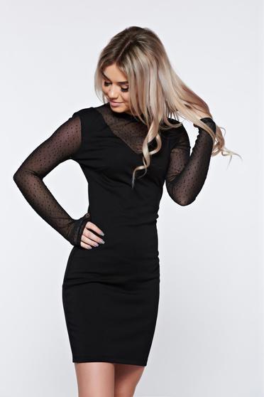 Fekete Top Secret alkalmi hosszú ujjú dekoltált ruha