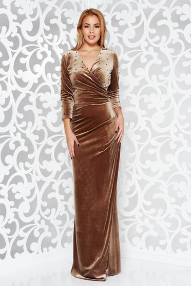 Barna Artista alkalmi bársony átfedéses ruha gyöngyös díszítés