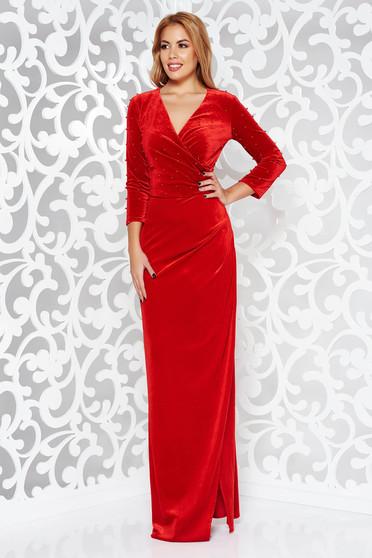 Piros Artista alkalmi bársony átfedéses ruha gyöngyös díszítés