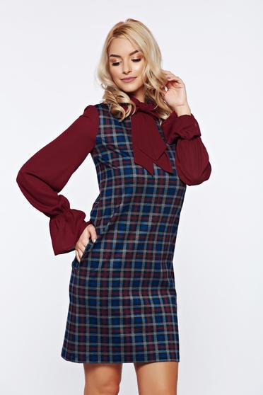 Burgundy LaDonna hétköznapi bő szabású kockás ruha